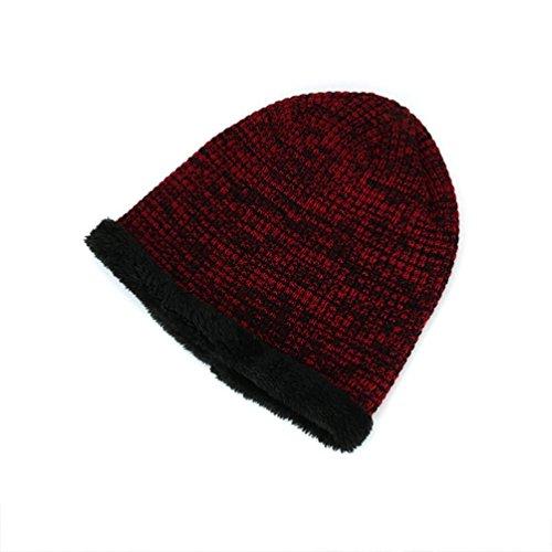 Suave Sombreros Vellosidades Clásico Punto YiJee de Invierno Vino más Cálido Cómodo Gorro Libre Hombre al Diseño Aire Rojo XqUx1PwAx