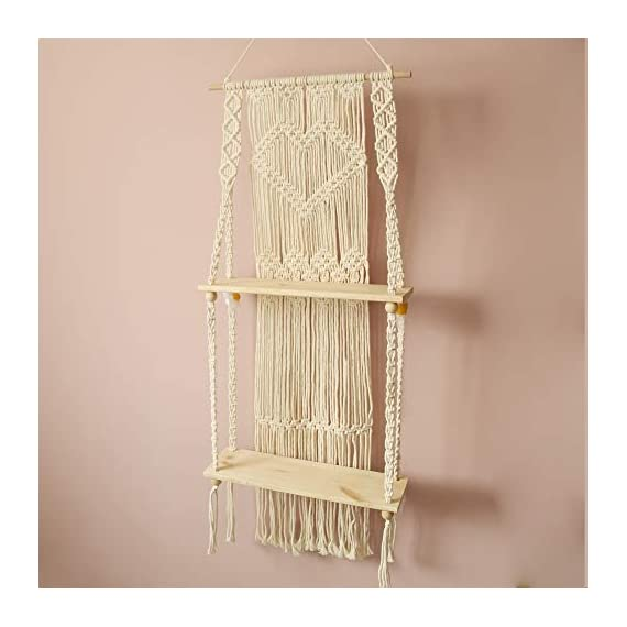 Boho Style Floating Wall Mount Shelving Macrame Rope Woven Double Layers Wood Shelf Tapestry Tassel Wall Hanging Art Background Home Decor Handmade Craft Bookshelf - Size: 50 x 110cm The shelf is suitable for small plants, magazines and small articles,etc. Do not wash. - wall-shelves, living-room-furniture, living-room - 41sR5Atc1DL. SS570  -