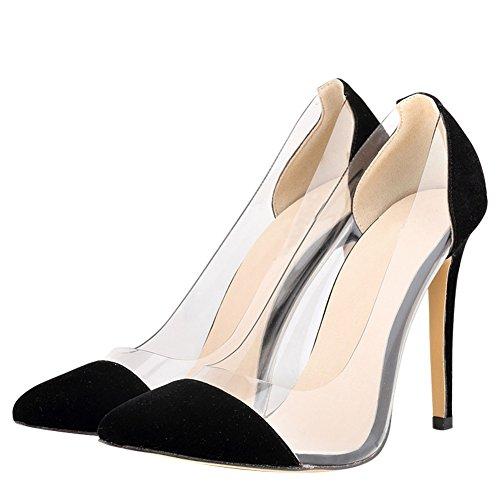 Fereshte Ladies Womes Vestido De Tacón De Aguja Transparente Zapatos De Corte Negro