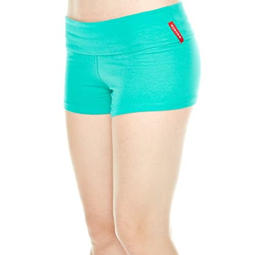Active BASIC Women's Yoga Shorts Fold Over Waist Band (Small, Jade)