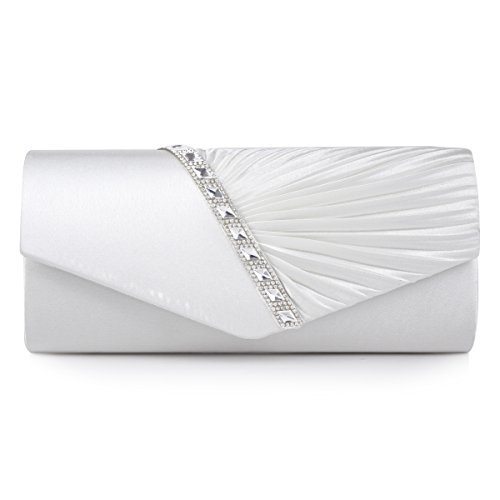 Damara Womens Pleated Crystal-Studded Satin Handbag Evening Clutch,White, large