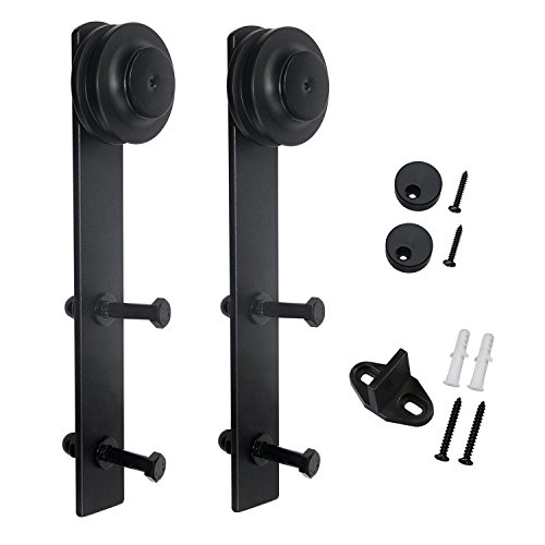 SMARTSTANDARD Sliding Barn Door Hardware Rollers 2Pcs (Black) (I Shape Hangers),