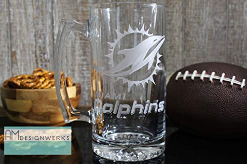 Miami Dolphins Jumbo 28.5oz Hand Etched Glass Beer Mug - The Dolphin Beer