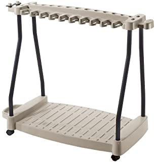 Suncast RTC1000 ® Premium Garden Tool Storage Cart Rack With Wheels  Suitable For Small U0026 Large