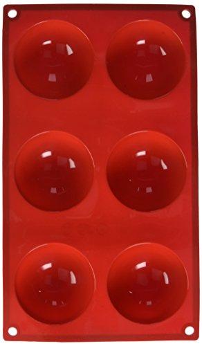 Excellanté 6 Cavities Brioche High Heat Silicone Baking Mold, 3.7 oz, Red