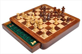 "WOODEN MAGNETIC Travel Chess Set - 12"" Square - by The House of Staunton"