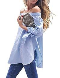 Simplee Apparel Women's 3/4 Sleeve Knotted Off Shoulder Side Split Blouse Shirt