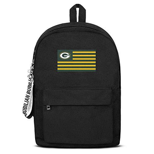 UUAATT 16.5 Inch Mens Women's Black Backpack Simple Canvas Bag College Backpacks Youth Boys (Green Bay Packer Diaper Bag)