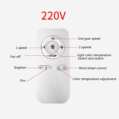 LMYMX LED Light Kit and Remote Control Invisible Ceiling Fan Light, Three Color Dimmable, with Modern Chandelier Ceiling Fan for Living Room Bedroom, with 3 Speed Setting
