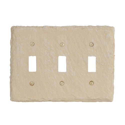 Amerelle 8345TTTA Faux Slate Triple Toggle Wallplate, Almond by Amerelle