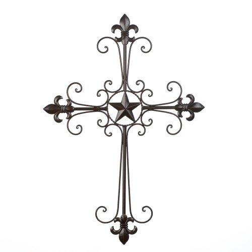 Quotech Wrought Iron Fleur De Lis Wall Cross ()