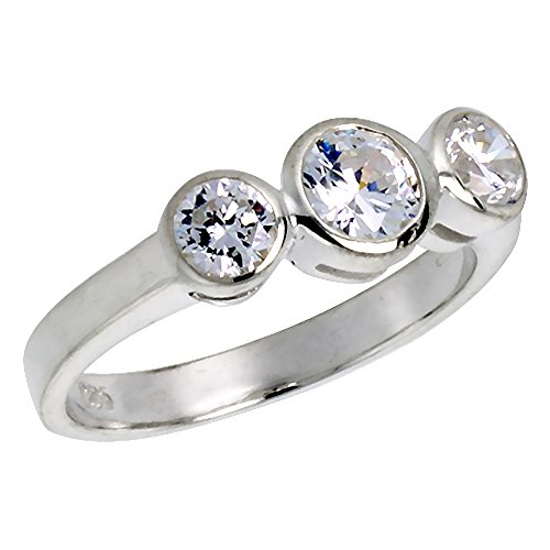 Sterling Silver Cubic Zirconia 3-Stone Ring Plain Bezel Set Brilliant Cut 2/3 ct Center size 7.5 Bezel 3 Large Stone Ring