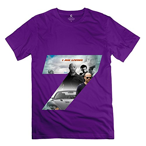 ROMEAR Men's Fast And Furious 7 Vin Diesel Paul Walker T-shirt Size L Purple