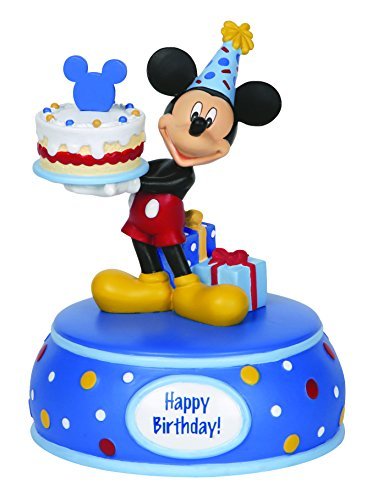 Music Box Mickey Mouse - Precious Moments, Disney Showcase Collection,  Mickey Mouse With Cake, Resin Music Box, 142705