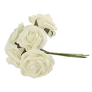 Joysiya 10pcs Artificial Foam Roses Flowers Bouquet Home Office Wedding Bridesmaid Bridal Bouquet Party Decor - Milk White 88