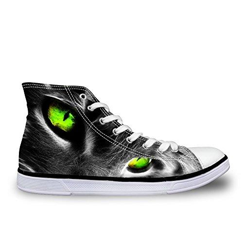 Câlins Idée Hugsidea Mode Vert Chat Hommes Spot Sneakers Noir Haut Haut Toile Chaussures Us12