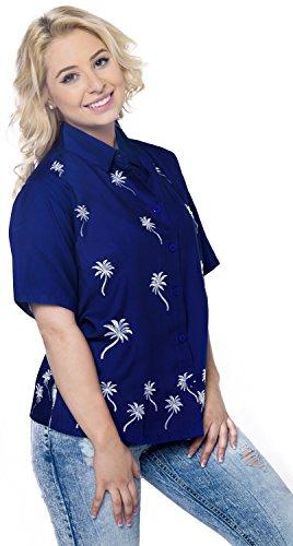 La Leela diseñador de ropa de playa botón superior de rayón de las mujeres bordadas abajo blusa de manga corta camisa azul azul real