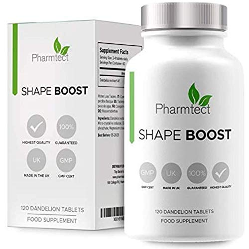 Pharmtect Shape Boost Tablets – Pure Dandelion Root 10:1 Strength Extract Supplements – Cleanse, Detox & Liver Support…