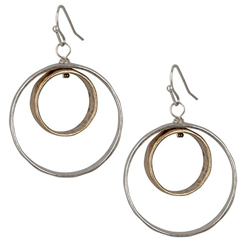 New Boutique Collection (Artsy 2 Open Circle Hoop Dangle Earrings For Women in Gold & Silver | SPUNKYsoul Collection)