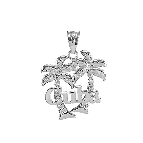 Polished 925 Sterling Silver Cuba Palm Tree Charm Pendant