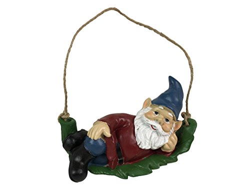 Swinging Garden Gnome on Leaf Outdoor Statue ()