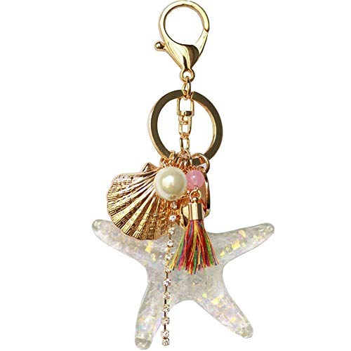 (Cute Crystal Seafish Sea Star Keychain Shell Pearl Tassel Keyring Car Bag Purse Charm for Women Girls)