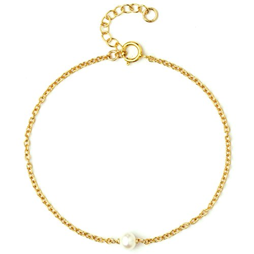 14k Gold Filled Bracelet (Dainty Bracelet For Women Girls, 14K Gold Filled Super Fine Chain, Simulated Freshwater Pearls, AAA CZ, Layering Essentials, Adjustable, Gifts for Her, Made in USA, 6.5
