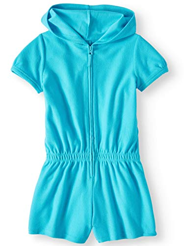 - Wonder Nation Girls Hooded Romper Zip Front Terry Swimsuit Cover Up (Blue Zipper Romper, XX-Large 18)