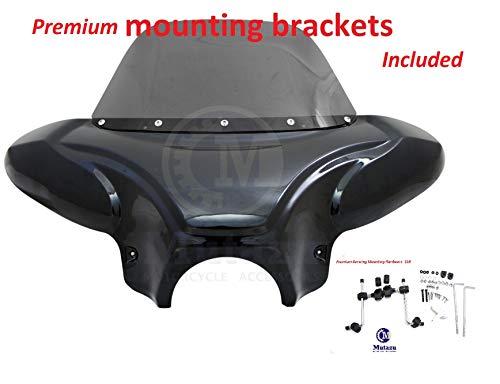Large Universal Motorcycle Cruiser Batwing Fairing with Tinted Windshield/Premium Mounting Brackets WS-2-VB-Premium