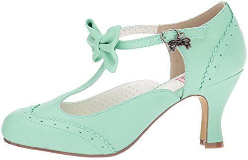 Pin Tira Zapatos Up Para Mint Tacon Con Flapper Y Faux Mujer Vertical Leather Couture 11 rrqB8