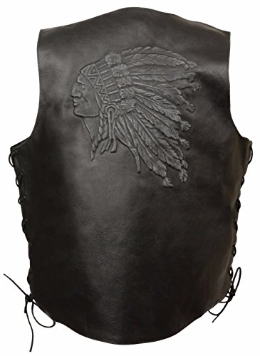 MEN'S MOTORCYCLE BLACK INDIAN HEAD EMBROIDERED LEATHER VEST W/SIDE LACES GREAT $ (2XL Regular) by EVENT LEATHER