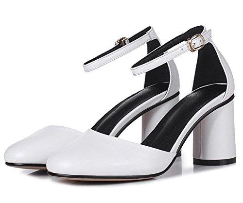 RuiRunde weibliche hochhackigen Sandalen Damen Sommer Sandalen mit dicken Sandalen White