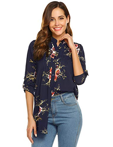 Sufiya Work Blouses for Women, Womens Shirts and Blouses 3/4 Sleeve Shirts V Neck High Low Hem Womens Tunics to Wear with Leggings Deep Blue X-Large ()