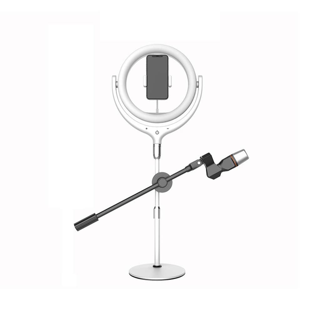 AJDGL LED Selfie Ring Light with Microphone Pole, Stepless Dimming Desktop Touch Control Makeup Fill Light with Rotatable Phone Holder for Platform Live Streaming,White by AJDGL