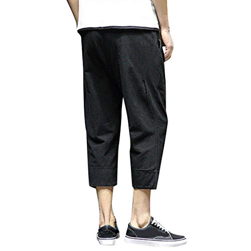 Allywit Men's Loose Fit Elastic Waist Patchwork Shorts Harem Capri Pants Lounge Linen Harem Pants Big and Tall Black by Allywit-Pants (Image #2)