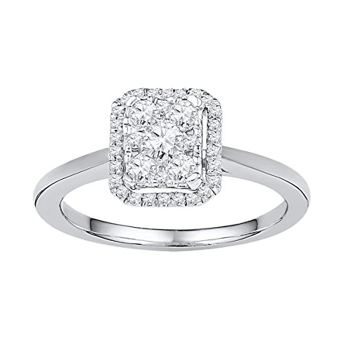 10kt White Gold Womens Round Natural Diamond Square Cluster Fashion Ring 1/3 Cttw - Diamond Square Cluster Ring