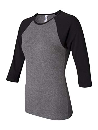 Bella Ladies' Two-Tone 3/4-Sleeve Raglan T-Shirt M Deep Heather/Black