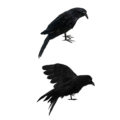 B Blesiya Set 2 Piece Artificial Realistic Birds Black Raven for Garden Lawn Wedding Halloween Party Decor
