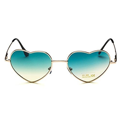 coeur or de en mince pour en style Gradient Lunettes Lens métal de femmes Green Dollger Cadre aviateur Gold forme Frame soleil Z5YxwSq