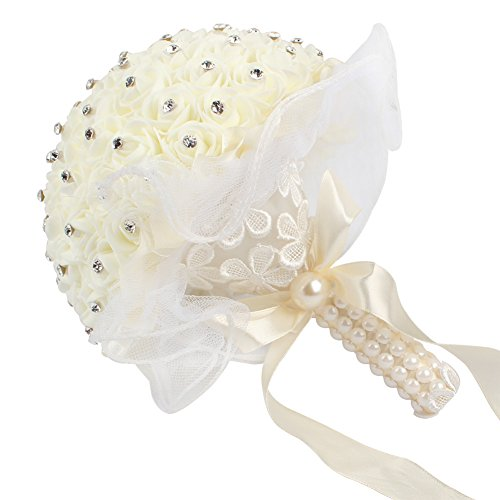 AerWo Bridal Bouquets - Ivory/Beige Wedding Flower Bouquet Handmade Rose Rhinestone Pearl Bridal Bouquet Artificial Silk Flower with Lace - Being the Most Beautiful Bride