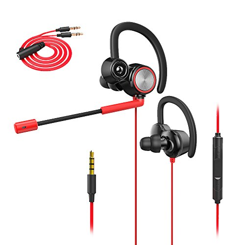 Wired Gaming Earphone with Adjustable Mic, XIAOKOA Earphones with microphone for Laptop Computer Cellphone, E-sport Earburds, Online Hands-free Calling (Ear Hooks Sports Action)