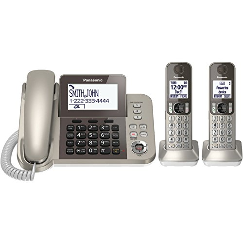 One Touch Answer Button - PANASONIC Corded / Cordless Phone System with Answering Machine and One Touch Call Blocking - 2 Handsets - KX-TGF352N (Champagne Gold)