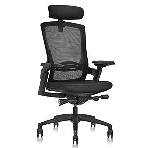 Chaise de Bureau Ergonomique avec Profondeur du Coussin Réglable|Hauteur de L'appui-tête Réglable|Support Lombaire…