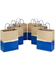 """Hallmark 13"""" Large Paper Gift Bags - Blue and Kraft (Pack of 6 for Birthdays, Weddings, Father's Day, Baby Showers, Bridal Showers and More)"""