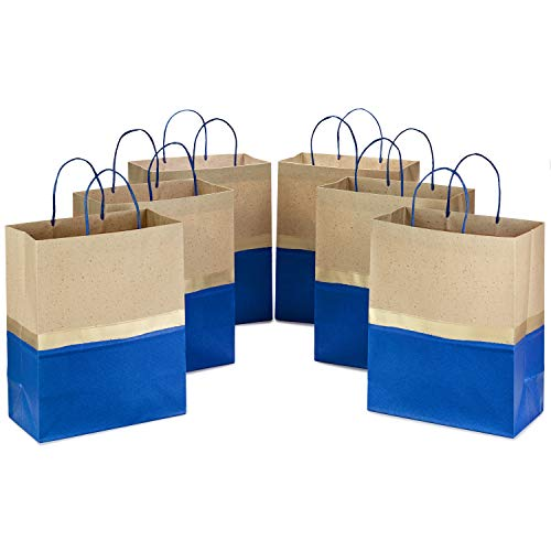 (Hallmark Large Paper Gift Bags for Birthdays, Weddings, Father's Day, Baby Showers, Bridal Showers, and More (Blue and Kraft, Pack of 6))