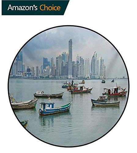 RUGSMAT Landscape Non-Slip Area Rug Pad Round,Anchored Fishing Boats Skyscrapers Panama Cityscape Pacific Coast Central America Protect Floors While Securing Rug Making Vacuuming,Round-55 -