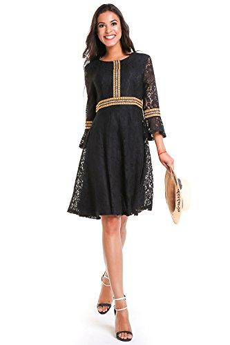 (Women's Vintage Floral Full Lace Swing A-Line Knee Length Retro 3/4 Bell Sleeve Dress (Black,)