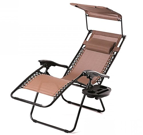 Zero Gravity Chair Lounge Patio Chairs Outdoor with Canopy Cup Holder HO43/Brown TKT-11 (Patio Iron Furniture Town Cape Wrought)