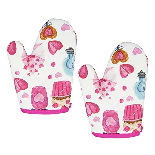 Cupcake Print Oven Mitts for Children,Heart Print Glove For Kids, Set of 2(Oven Mitts) (Two Oven Mitts)