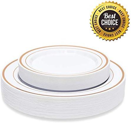Rose Gold Plastic Dinnerware  Disposable Plates Set  WeddingBirthdayPartyFiestaElegantBridal